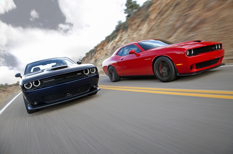 2015 Dodge Challenger SRT (left) and Dodge Challenger SRT Supercharged (right)
